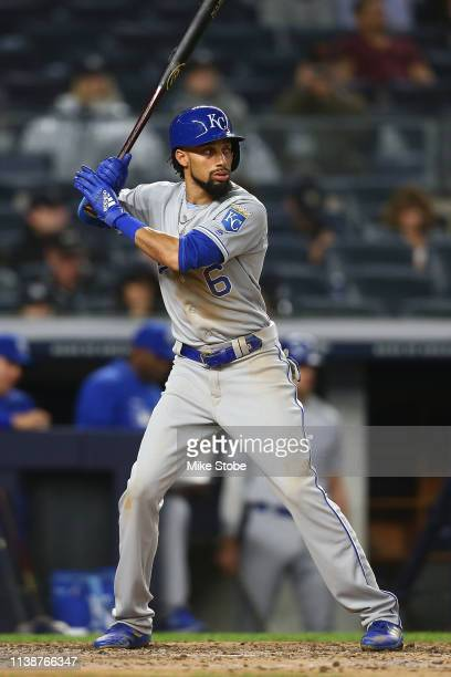 Billy Hamilton of the Kansas City Royals in action the New York Yankees at Yankee Stadium on April 19, 2019 in New York City. New York Yankees...