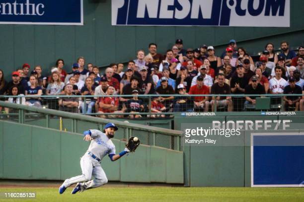 Billy Hamilton of the Kansas City Royals makes a catch in the first inning against the Boston Red Sox at Fenway Park on August 7, 2019 in Boston,...