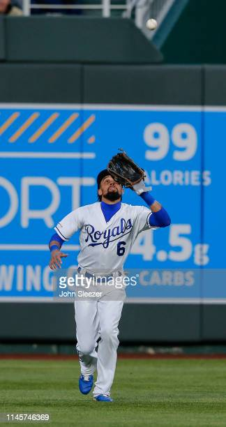 Billy Hamilton of the Kansas City Royals runs down a fly ball out on Luis Rengifo of the Los Angeles Angels of Anaheim in the fourth inning during...
