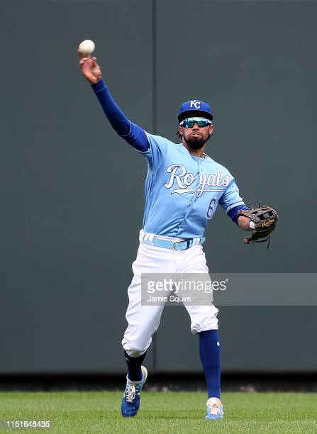 Billy Hamilton of the Kansas City Royals throws from center field during the game against the New York Yankees at Kauffman Stadium on May 25 2019 in...