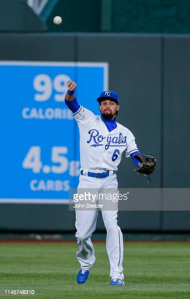 Billy Hamilton of the Kansas City Royals throws in a fly ball out on Luis Rengifo of the Los Angeles Angels of Anaheim in the fourth inning during...