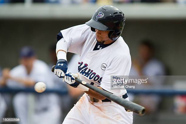 Billy Hamilton of the Pensacola Blue Wahoos swings at a pitch against the Montgomery Biscuits at Community Maritime Park Stadium on August 19, 2012...