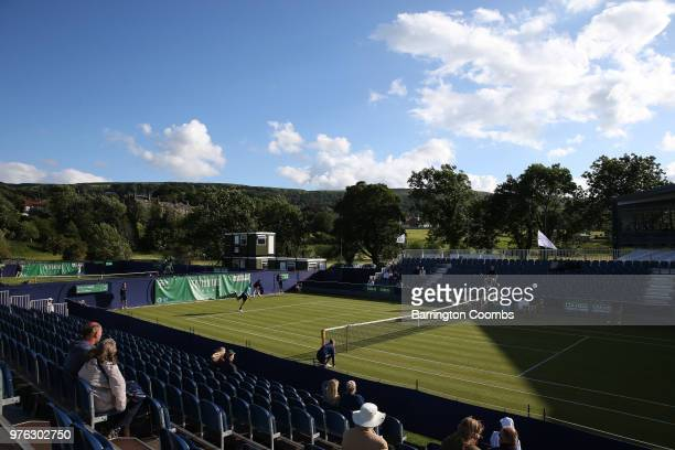 Billy Harris of Great Britain in action against Finn Bass of Great Britain during Day One of the Fuzion 100 Ikley Trophy at Ilkley Lawn Tennis &...