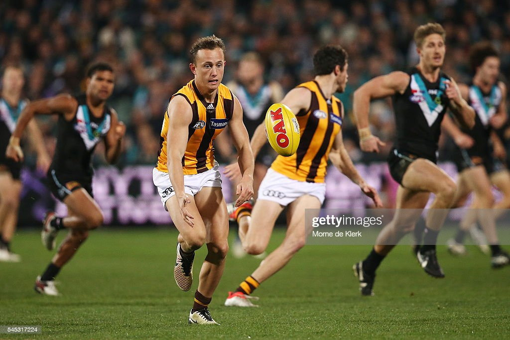 Billy Hartung of the Hawks wins the ball during the round 16 AFL match between the Port Adelaide Power and the Hawthorn Hawks at Adelaide Oval on July 7, 2016 in Adelaide, Australia.