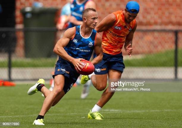 Billy Hartung of the Kangaroos in action during a North Melbourne Kangaroos Training Session at Arden Street Ground on January 15 2018 in Melbourne...