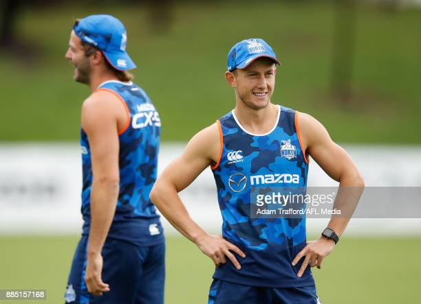 Billy Hartung of the Kangaroos looks on during the North Melbourne Kangaroos training session at Arden St on December 4 2017 in Melbourne Australia
