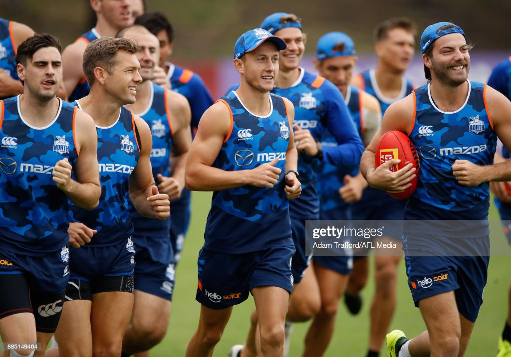 Billy Hartung of the Kangaroos runs laps during the North Melbourne Kangaroos training session at Arden St on December 4, 2017 in Melbourne, Australia.
