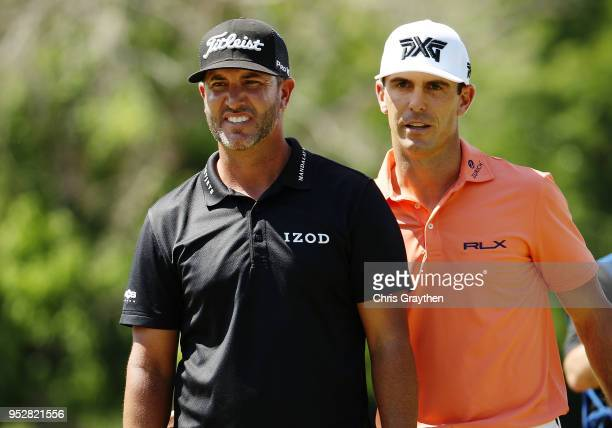 Billy Horschel and Scott Piercy react to their shot on the 10th hole during the final round of the Zurich Classic at TPC Louisiana on April 29 2018...