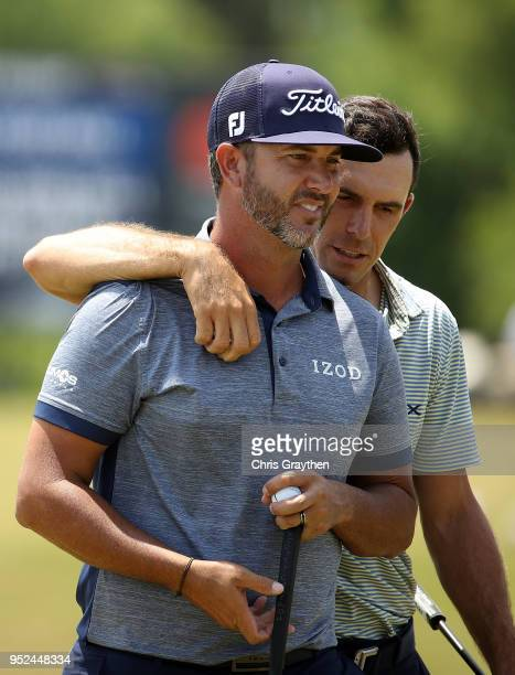 Billy Horschel and Scott Piercy react to thier putts on the 18th hole during the third round of the Zurich Classic at TPC Louisiana on April 28 2018...