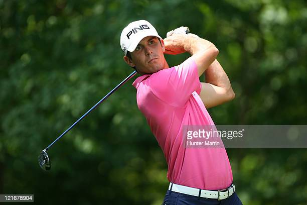 Billy Horschel hits his tee shot on the second hole during the final round of the Wyndham Championship at Sedgefield Country Club on August 21, 2011...