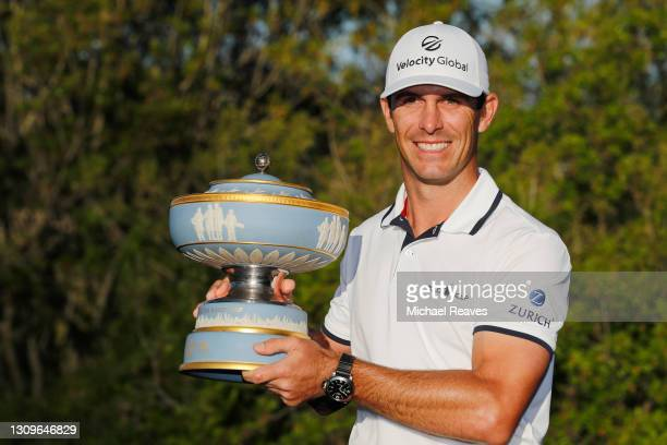 Billy Horschel of the United States celebrates with the Walter Hagen Cup after winning 2&1 against Scottie Scheffler of the United States in the...