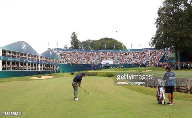 Billy Horschel of the United States of America plays his third shot on the 18th hole during Day Four of The BMW PGA Championship at Wentworth Golf...