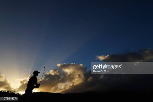 Billy Horschel of the United States plays a shot during a practice round ahead of the Sentry Tournament of Champions at the Plantation Course at...