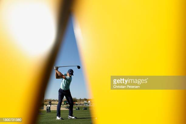 Billy Horschel of the United States plays a tee shot on the 18th hole during the third round of the Waste Management Phoenix Open at TPC Scottsdale...