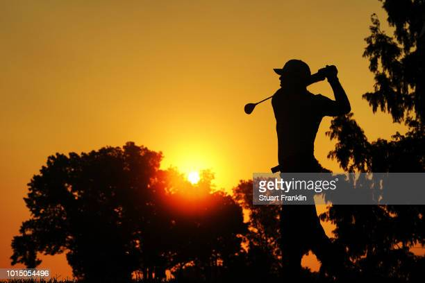 Billy Horschel of the United States plays his shot from the second tee during the continuation of the weather delayed second round of the 2018 PGA...