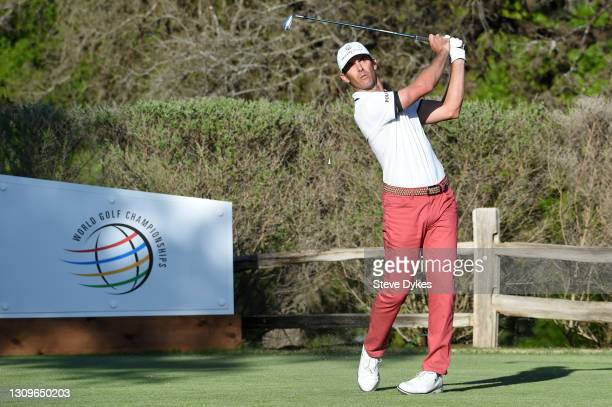 Billy Horschel of the United States plays his shot on the 17th hole in his match against Scottie Scheffler of the United States during the final...