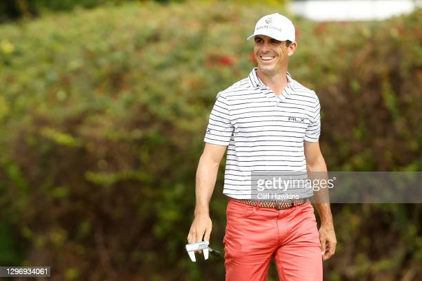 Billy Horschel of the United States reacts after a missed putt on the 16th green during the final round of the Sony Open in Hawaii at the Waialae...