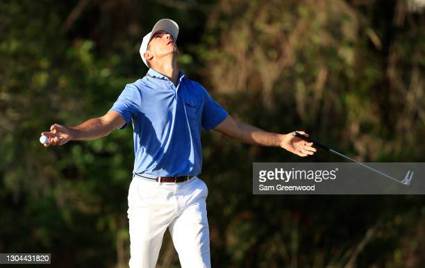 Billy Horschel of the United States reacts on the 16th green during the third round of the World Golf Championships-Workday Championship at The...