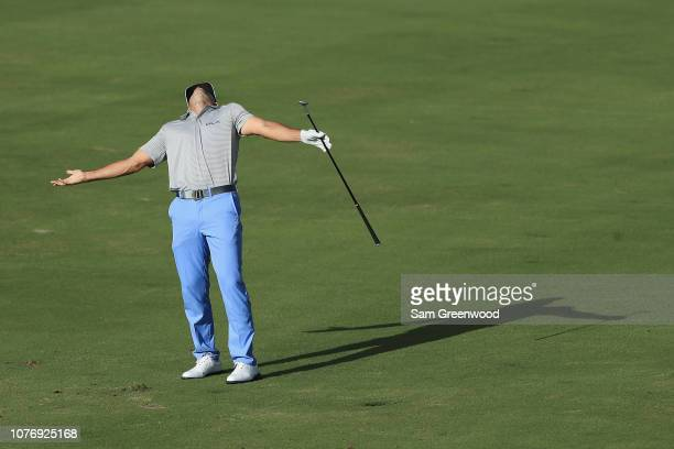 Billy Horschel of the United States reacts on the 16th hole during the first round of the Sentry Tournament of Champions at the Plantation Course at...