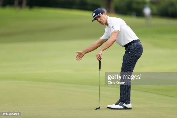 Billy Horschel of the United States reacts on the fourth green during the third round of the Wyndham Championship at Sedgefield Country Club on...
