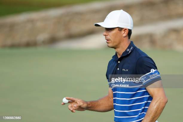 Billy Horschel of the United States reacts to his birdie on the 15th green during the final round of the Wyndham Championship at Sedgefield Country...