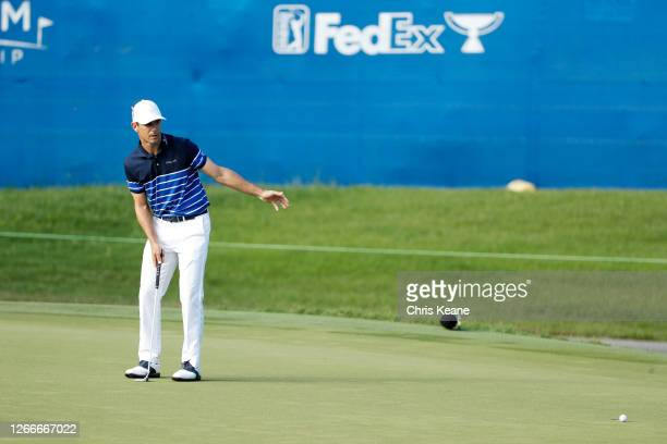 Billy Horschel of the United States reacts to his missed during the final round of the Wyndham Championship at Sedgefield Country Club on August 16,...