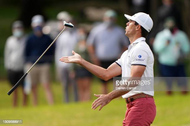 Billy Horschel of the United States reacts to missing a putt on the seventh hole in his match against Victor Perez of France during the semifinal...