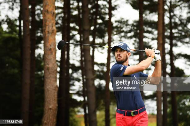 Billy Horschel of the United States tees off the 11th hole during Day Four of the BMW PGA Championship at Wentworth Golf Club on September 22, 2019...