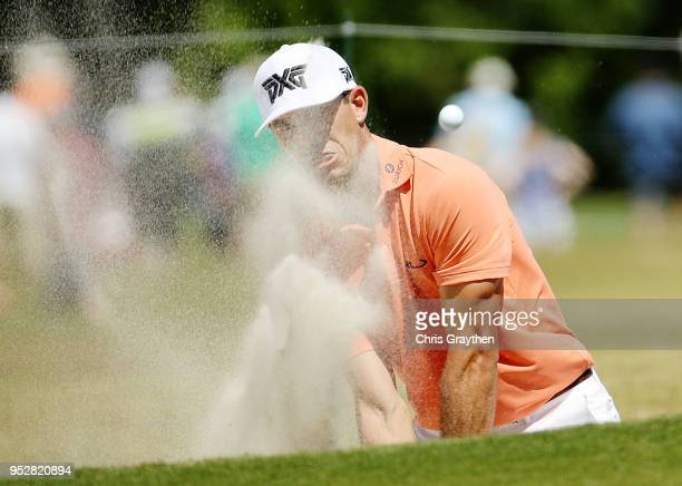 Billy Horschel plays a shot from a bunker on the 11th hole during the final round of the Zurich Classic at TPC Louisiana on April 29 2018 in Avondale...