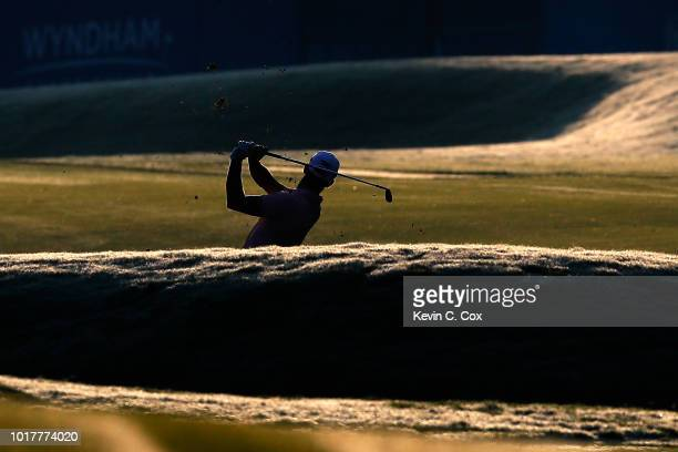 Billy Horschel plays a shot on the 10th hole during the first round of the Wyndham Championship at Sedgefield Country Club on August 16 2018 in...