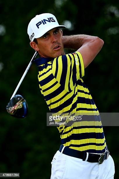Billy Horschel plays his shot from the ninth tee during the second round of the Travelers Championship at TPC River Highlands on June 26 2015 in...
