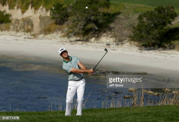 Billy Horschel plays his shot on the sixth hole during Round Three of the ATT Pebble Beach ProAm at Pebble Beach Golf Links on February 10 2018 in...