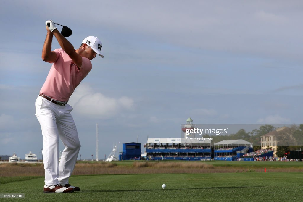 Billy Horschel plays his tee shot on the 18th hole during the third round of the 2018 RBC Heritage at Harbour Town Golf Links on April 14, 2018 in Hilton Head Island, South Carolina.