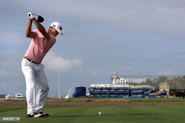 Billy Horschel plays his tee shot on the 18th hole during the third round of the 2018 RBC Heritage at Harbour Town Golf Links on April 14 2018 in...