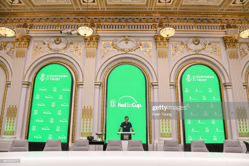 Billy Horschel poses for a photo in a conference room at the New York Stock Exchange during a preview media tour for THE NORTHERN TRUST on August 22, 2017 in New York City, New York.