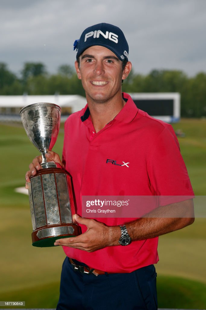 Billy Horschel poses for a photo with the winner's trophy after winning the Zurich Classic of New Orleans at TPC Louisiana on April 28, 2013 in Avondale, Louisiana.
