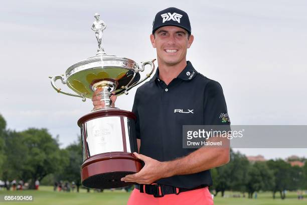 Billy Horschel poses with the trophy after winning the ATT Byron Nelson at the TPC Four Seasons Resort Las Colinas on May 21 2017 in Irving Texas