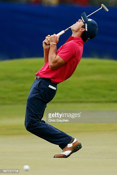 Billy Horschel reacts after a missed putt on the 14th hole during the final round of the Zurich Classic of New Orleans at TPC Louisiana on April 28,...