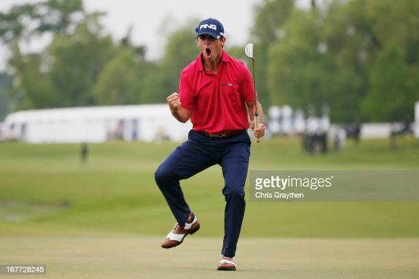 Billy Horschel reacts after making a putt for birdie on the 18th hole during the final round of the Zurich Classic of New Orleans at TPC Louisiana on...