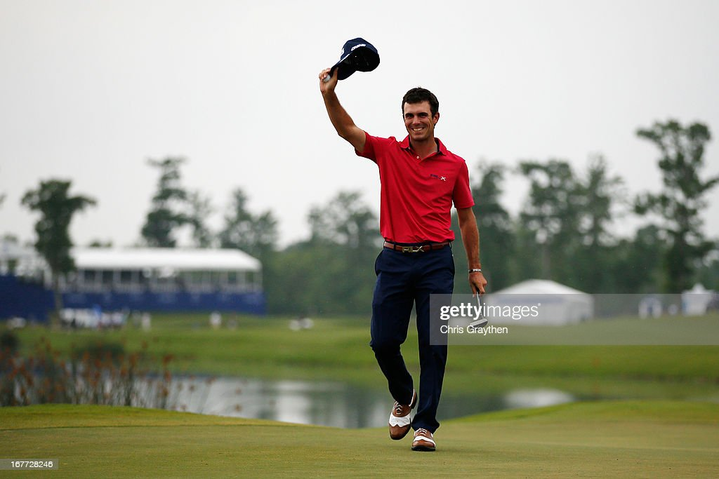 Billy Horschel reacts after making a putt for birdie on the 18th hole during the final round of the Zurich Classic of New Orleans at TPC Louisiana on April 28, 2013 in Avondale, Louisiana.
