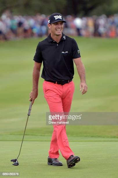 Billy Horschel reacts to a missed birdie putt in a playoff against Jason Day of Australia on the 18th hole during the Final Round of the ATT Byron...