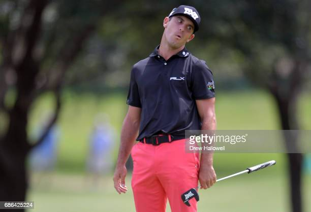 Billy Horschel reacts to a missed putt to bogie the ninth hole during the Final Round of the ATT Byron Nelson at the TPC Four Seasons Resort Las...
