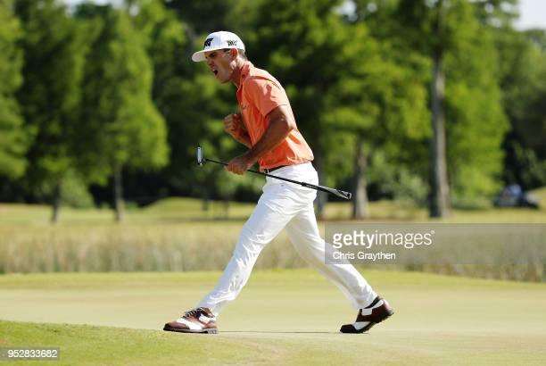 Billy Horschel reacts to a putt on the 18th hole during the final round of the Zurich Classic at TPC Louisiana on April 29, 2018 in Avondale,...