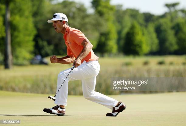 Billy Horschel reacts to a putt on the 18th hole during the final round of the Zurich Classic at TPC Louisiana on April 29 2018 in Avondale Louisiana