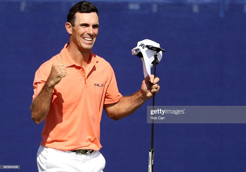 Billy Horschel reacts to a putt on the 18th hole during the final round of the Zurich Classic at TPC Louisiana on April 29, 2018 in Avondale, Louisiana.