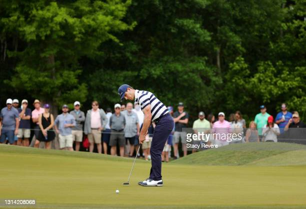 Billy Horschel reacts to his birdie on the first hole during the third round of the Zurich Classic of New Orleans at TPC Louisiana on April 24, 2021...