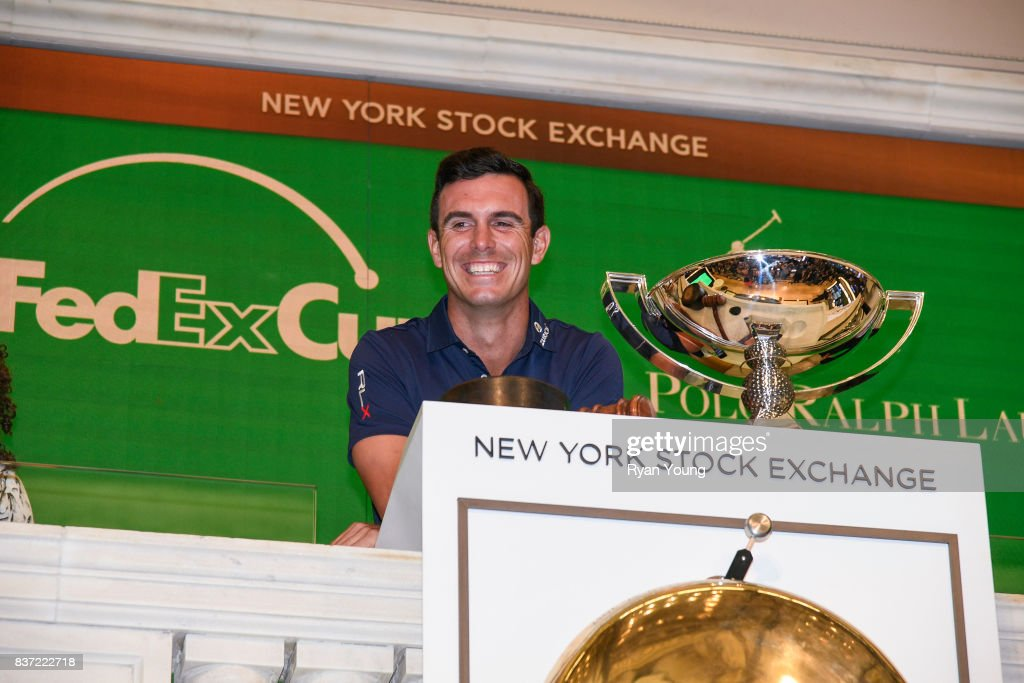 Billy Horschel rings the opening bell at the New York Stock Exchange during a preview media tour for THE NORTHERN TRUST on August 22, 2017 in New York City, New York.