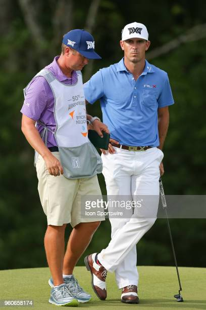 Billy Horschel waits with his caddie to putt on the 17th green during the final round of the 50th annual ATT Byron Nelson on May 20 2018 at Trinity...