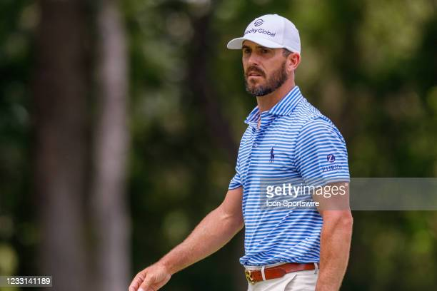 Billy Horschel walks off the 8th green after making birdie during the first round of the Charles Schwab Challenge on May 27, 2021 at Colonial Country...
