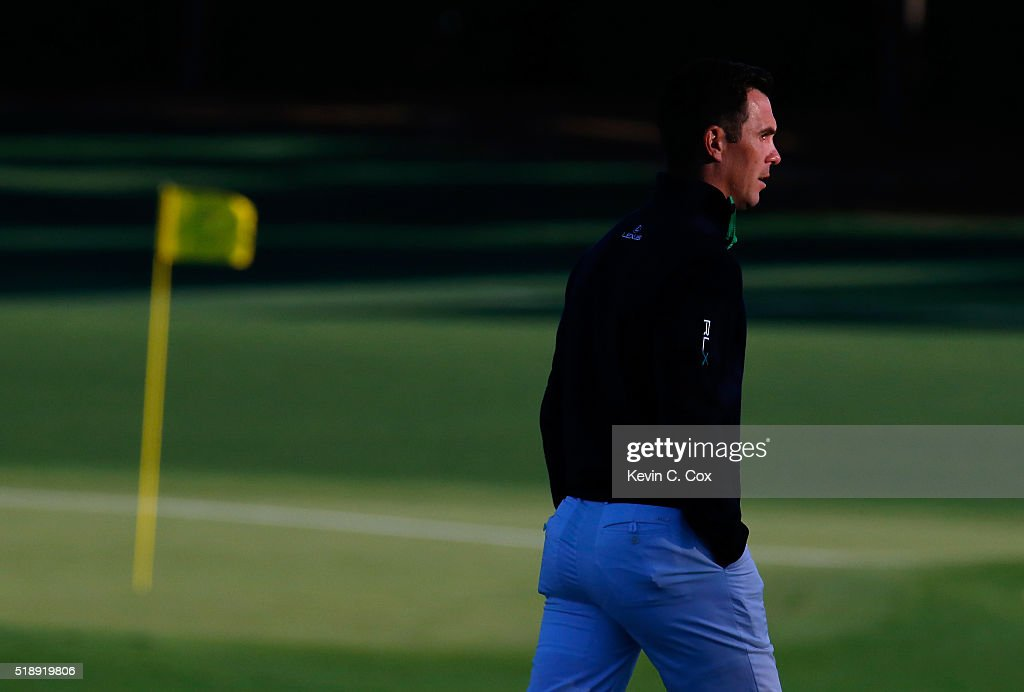Billy Horschel walks to the driving range during the Drive, Chip and Putt Championship at Augusta National Golf Club on April 3, 2016 in Augusta, Georgia.